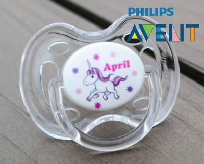 PHILIPS AVENT PERSONALISED DUMMY, SOOTHER, PACIFIER, 0-6mths, UNICORN