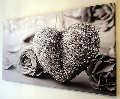 Black And White,  Grey Heart Canvas Wall Art Picture 18 X 32 Inch Framed Print