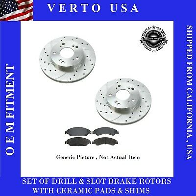 Front Drilled Slotted Brake Rotors and Ceramic Pads for Ford Fusion 2006-2012