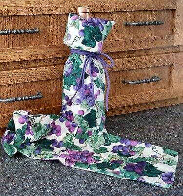 Set of 2 NEW Handmade Grape Motif Cloth Wine Bottle Gift Bags/Totes Ships FREE!