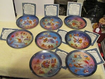 WINNIE THE POOH 100 ACRE HAPPINESS DISNEY 1 thru 8 PLATES WITH COA