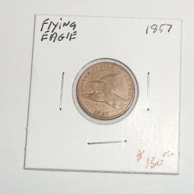 1857 1c Flying Eagle Penny Cent US COIN Better Date Nice Strike!