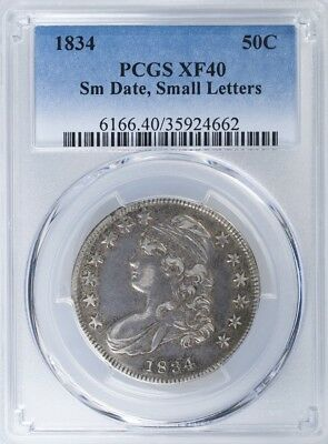 1834 Capped Bust Half PCGS XF40 Small Date, Small Letters