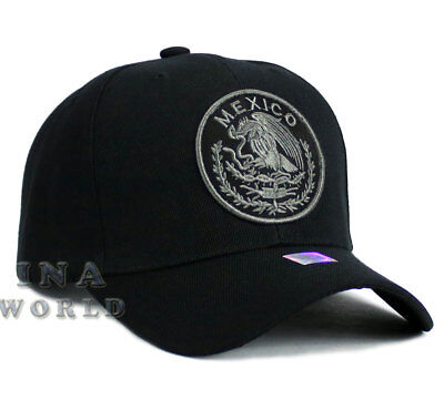 MEXICAN hat MEXICO Federal State Embroidered Curved bill Baseball cap-Black  Gray 2d88aa227715