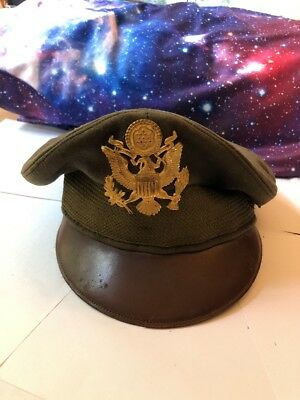 "WWII US Army Air Force AAF Officer's ""Crusher"" Cap or Hat Size 7 1/4 Original"