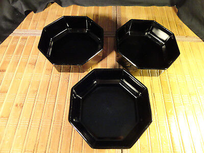 """ARCAROC ARCOPAL FRANCE EIGHT SIDED BLACK SOUP/CEREAL BOWLS, 5 1/2"""", Set of 3"""