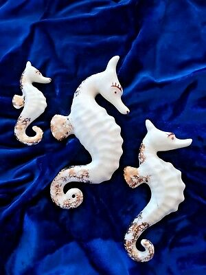 Vintage 1950's SET of 3 Gold & White Ceramic Pottery Seahorse Wall Plaques