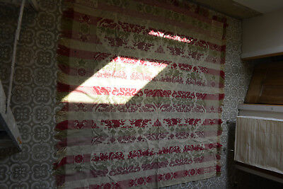 Stunning Genuine Antique Woven Red & White 19th C. Coverlet Bird of Paradise