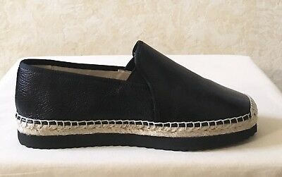 MK Michael Kors Hastings Slip On Espadrille Loafer Leather Black