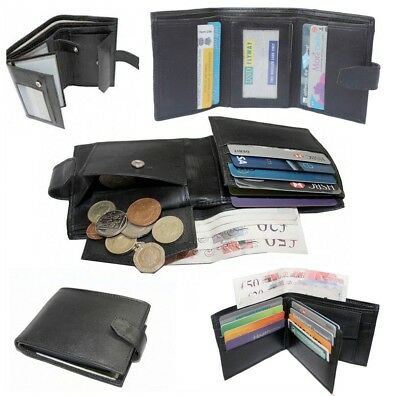 Mens Genuine Luxury Soft Napa Leather Wallet, Credit Card Holder, Purse Black Uk
