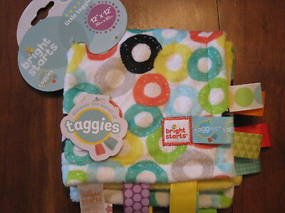 New NWT Bright Starts Little Taggies Circle Lovey Security Blanket 12 X 12