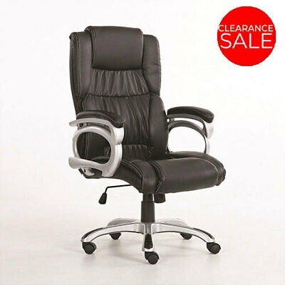New Office Chair Executive Premium Faux PU Leather Computer Seat Work Black