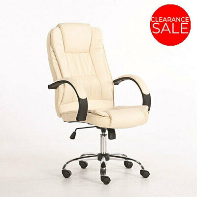 New Executive Premium Office Chair PU Faux Leather Home Computer Cream Seating
