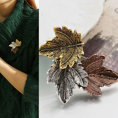 Women Vintage Maple Leaf Brooch Gold Silver Plated Brooches Pins Dance Party WK