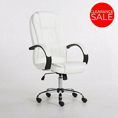 New Executive Premium Office Chair PU Faux Leather Home Computer White Seating