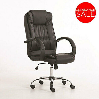 New Executive Premium Office Chair PU Faux Leather Home Computer Black Seating
