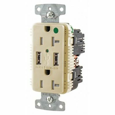 HUBBELL WIRING DEVICE-KELLEMS USB8300A5I USB Charger Receptacle,2 Ports,2 Poles