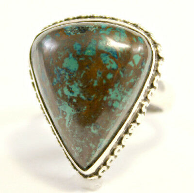 Antique Sterling Silver 925 with BIG Triangle Cut Turquoise Size 6 Ring 8.8 gram