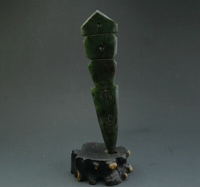 "8.46"" Excellent Chinese Green Jade Carved Spear Arrow Head With Ancient Words"