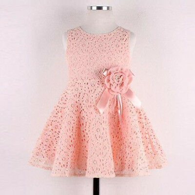 Flower Kids Girls Dress Toddler Lace Princess Party Birthday Wedding Dresses AU
