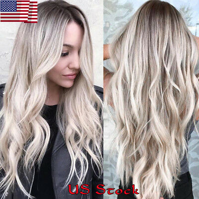 Women's Wig Long Hair Ombre Blonde Balayage Curly Light Gold Hairstyle Wigs Hair