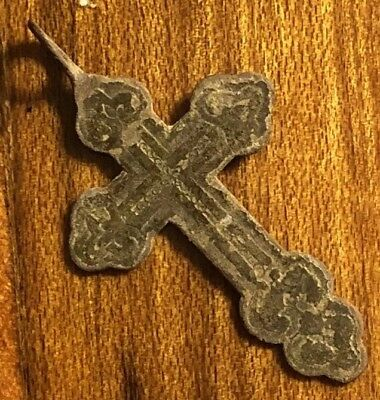 Medieval Copper Cross Pendant Catholic Christian Jesus Ancient Artifact Russia 1