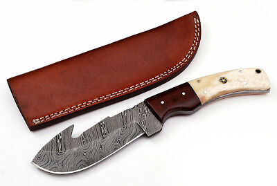 Custom Twist Damascus Steel FULL TANG Gut Hook Hunting Knife Z6A