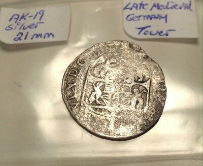 Medieval Silver Coin Germany Tower 21mm