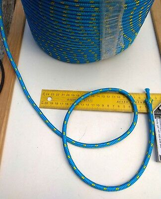 10m X 7mm BLUE DOUBLE BRAID WITH DYNEEMA® CORE, YACHT & MARINE ROPE tens:2100kg