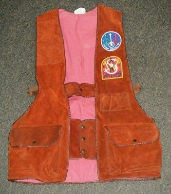 Vintage c1970's Leather Shooting Vest with Patches