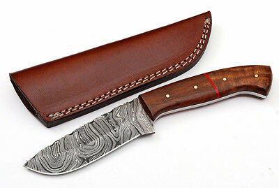Custom Fire Twist Damascus Steel FULL TANG Drop Point Hunting Knife Z17