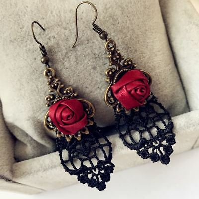Fashion Jewelry Black Lace Red Rose Dangle Gothic Earring for Women Accessories