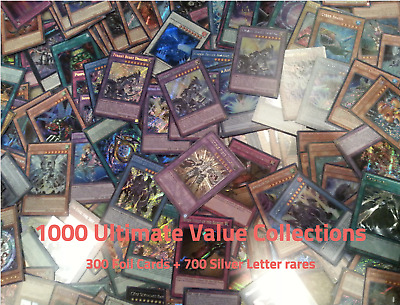 Yugioh Collection 1000 cards ( 300 Foils + 700 Silver Rares) No Commons