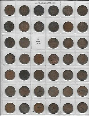 1911-1964   AUSTRALIAN HALF PENNY AND PENNY SET  -  NO 23 - 25 - 30 or 46 -  IN