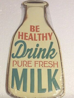 Be Healthy Drink Pure Fresh Milk Embossed Tin Metal Sign Kitchen Restaurant