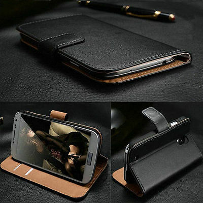 Black For Nokia Sony Motorola HTC Real Genuine Leather Wallet Case Cover Full