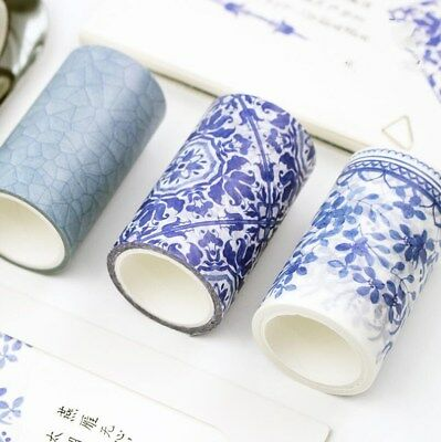 1 Roll 5M Chinese Style Washi Paper Tapes Blue and White Porcelain Decorative
