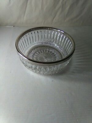 Vintage Large Crystal Bowl With Sterling Silver Rim Accent used