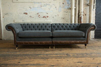 Modern Grey Wool & Antique Tan Leather 4 Seater Split Chesterfield Sofa Couch