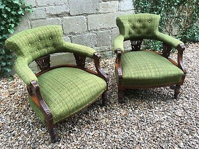 Pair Of Antique 19th Century Salon Tub Chairs Delivery Available