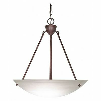 3 Light 23 in. Pendant Alabaster Glass Bowl Old Bronze NUVO 60-371