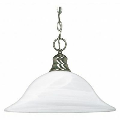 1 Light 16 in. Pendant Alabaster Glass Brushed Nickel NUVO 60-390