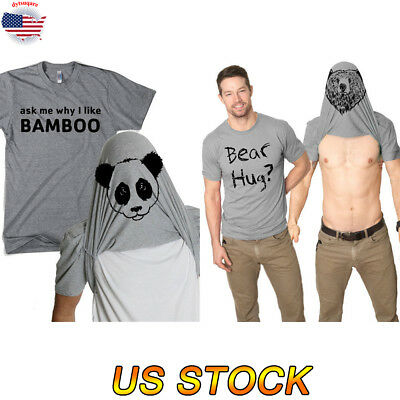 4442d554d Creative Men Grizzly Bear Hug T-Shirt Funny Bamboo Shirt Humorous Casual  Clothes