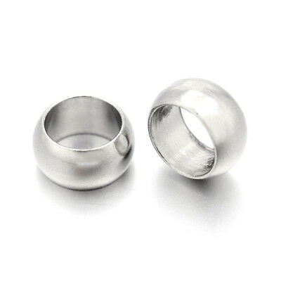 20x 304 Stainless Steel Large Hole Metal Beads Smooth Rondelle Loose Spacer 10mm