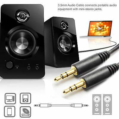 Premium Gold 3.5mm Car Stereo Audio Auxiliary Male to Male Cable, 6-Feet