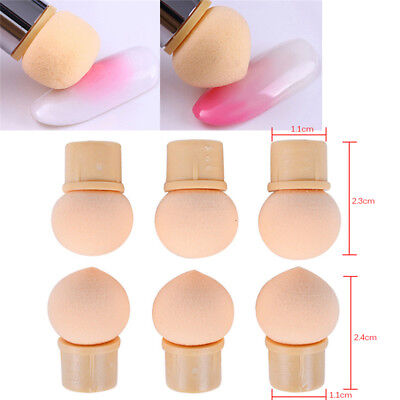 6Pcs Reusable Gradient Nail Art Pen Brush Replaceable Sponge Heads Nail Art