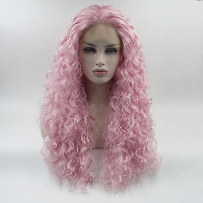 24'' Pink Long Curly Lace Front Wig Lady Fashion Cosplay Heat Resistant