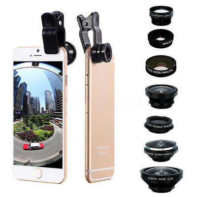 8 In1 Clip On Camera Lens Fisheye +Wide Angle+Macro For Iphone Samsung