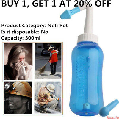 300ml Nasal Wash Neti Pot Nose Cleaner Bottle Nasal Irrigator Saline Allergic WR