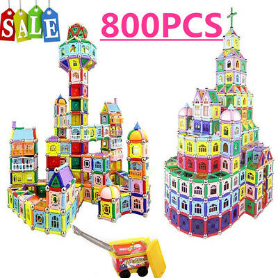 3D 800 Pcs DIY Kids Gift Magnetic Construction Building Blocks Educational Toy